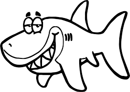 cartoon shark funny fish paper invitation underwater coloring page