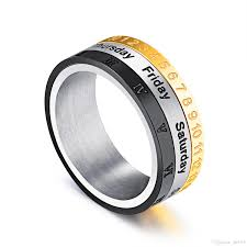 mens spinner rings mens stainless steel arabic numerals week day engraved