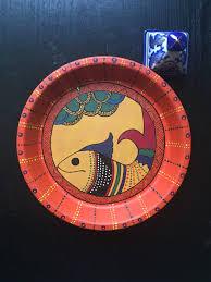 indian folk art fish on terracotta plate 19 cm u2026 my artwork