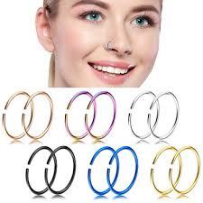 nose rings titanium images Fancy gold titanium nose bone stud ring nose piercing hoop ring jpg