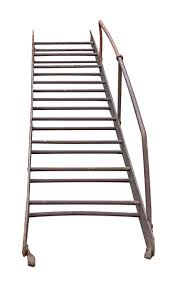 industrial fire escape ladder with hand rail olde good things
