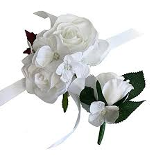 corsage and boutonniere set 2pc set of wrist corsage boutonniere rorse hydrangea artificial