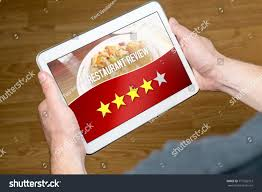 Flag With Four Red Stars Good Restaurant Review Satisfied Happy Customer Stock Photo