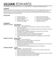 Examples Of Resumes For Restaurant Jobs by Best Restaurant U0026 Bar Team Member Resume Example Livecareer