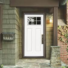 Prehung Steel Exterior Doors Jeld Wen 34 In X 80 In 6 Lite Craftsman Primed Steel Prehung