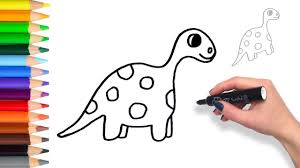 learn how to draw a dinosaur teach drawing for kids and toddlers
