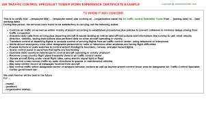 Air Traffic Controller Resume Sample by Air Traffic Control Specialist Tower Work Experience Certificate