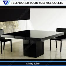 Black Chairs White Artificial Stone Table Modern  Seater Dining - Black dining table for 8