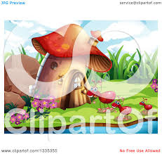 clipart of a mushroom house and ants on a beach royalty free