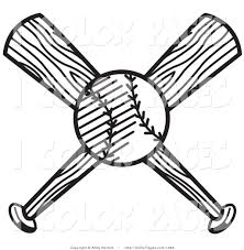 vector coloring page of a baseball and two crossed bats by andy