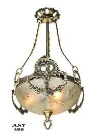 Bowl Pendant Light Fixtures Vintage Hardware Lighting Antique Edwardian Ceiling Bowl