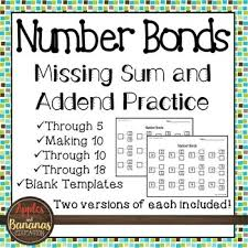 number bonds part part whole missing sums and addends worksheets