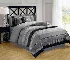 black gray and silver queen comforter with black wooden paint