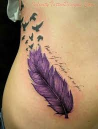 purple feather purple feather with flying birds tattoo design for hip