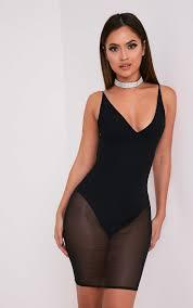 kyiah black mesh overlay midi dress dresses prettylittlething