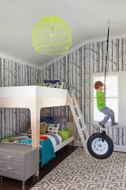 Rugs For Kids Bedroom by Woods Wallpaper And Rug Bring Gray Into This Bedroom Bedroom