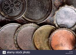 pewter and copper plates for sale in the souhks of marrakesh