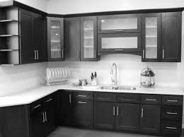 l shape black and white kitchen decoration using white glass tile