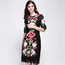 lace dress 2016 spring summer new fashion runway brand flowers