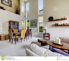 Furniture For Large Living Room Large Beige Bright Living Room With Dining Room Table With