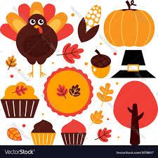 thanksgiving design elements set royalty free vector image