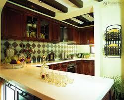 minimalist kitchen with dark brown cabinets and white kitchen