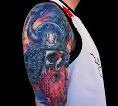 stylish skull shoulder tattoos