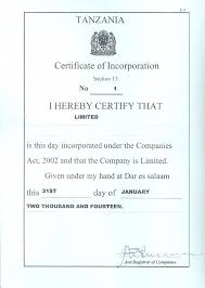 clearance certificate sample tanzania investment centre
