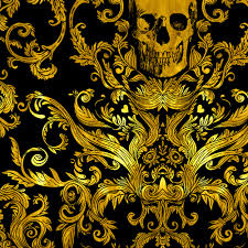 gold skull fabric dread damask in gilded by willowlanetextiles