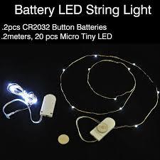 10pcs lot cr2032 button battery 2m 20led micro tiny led string