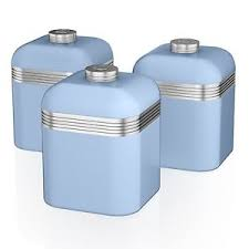 kitchen storage canisters swan set of 3 tea coffee sugar blue canisters jar kitchen storage