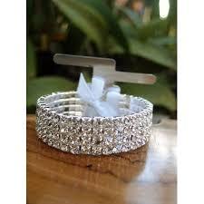 corsage bracelet corsage bracelet silver elastic with rhinestones walmart