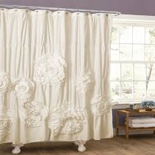 White Ruffled Curtains by Creative Gypsy Ruffled Shower Curtain With Bathroom Awesome White