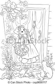 vectors illustration red riding hood coloring book