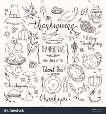 thanksgiving traditional symbols doodle style collection stock