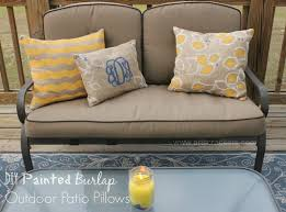 Diy Patio Cushions Diy Painted Burlap Outdoor Throw Pillows Arts U0026 Crackers