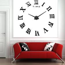 large wall clock 3d mirror sticker metal big watches roman numeral