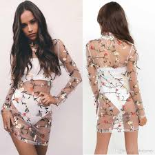embroidered floral mesh beach swimsuit cover ups dress see