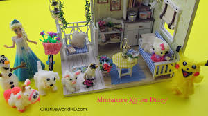 diy miniature dollhouse kitten and friends room decor with light