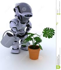 robot with watering can feeding a plant stock illustration image