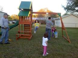 Swing Set For Backyard by Backyard Discovery Tucson Cedar Wooden Swing Set Walmart Com