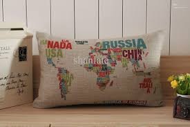 Ship Furniture Across Country Cheap by Novelty Gift Words World Map Russia Pattern Linen Cotton Cushion