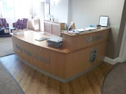 Small Reception Desk Ideas Reception Desk In Oak Veneer With Small Pedestal And A