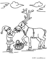 christmas sprite feeding reindeer coloring pages hellokids
