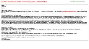 housekeeper administrative offer letter