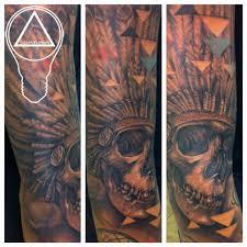 grey native american skull headdress tattoo in 2017 real photo