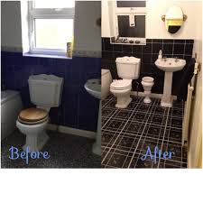 before and after using black tile paint and stick on tiles from