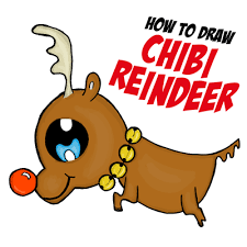draw chibi reindeer baby rudolph red nosed