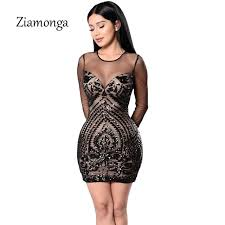 sequin dress ziamonga gold sequin dress black sleeve mesh club party