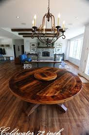 24 round pedestal table reclaimed wood pedestal table with 24 round lazy susan in coldwater